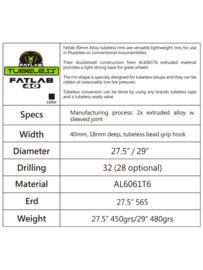 Fatlab 40 mm Alloy tubeless velg