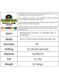 Fatlab 80 mm Alloy tubeless velg
