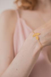Srta Bolitas  handgemaakt verguld armbandje met fijn blaadje