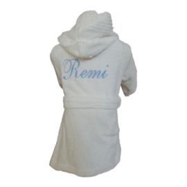 Kinderbadjas wit met geborduurde naam