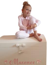 Klassieke pyjama met naam (roze/grijs) 12M-6Y