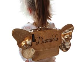 Vlindertas met naam SMALL (goud, zilver en roze)