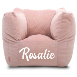 Kinderfauteuil met naam (roze/munt/grijs)