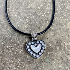 MOTHER OF PEARL HEART NECKLACE STERLING SILVER