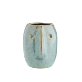 FLOWER POT W/ FACE LIGHT GREEN / MADAM STOLTZ