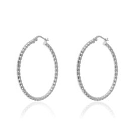 DOTTED HOOPS STERLING SILVER 25MM