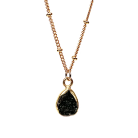 BLACK DRUZY NECKLACE GOLD PLATED