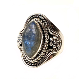LABRADORITE TRIBAL RING STERLING SILVER