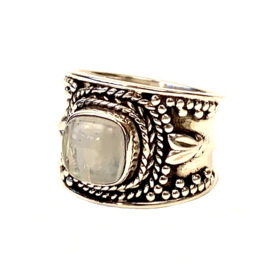 MAANSTEEN BOHO RING STERLING ZILVER