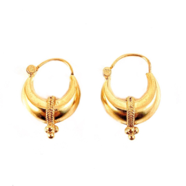 TRIBAL DOTS HOOPS GOLD VERMEIL OORBELLEN