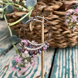 BEADED HOOPS OORBELLEN ZILVER
