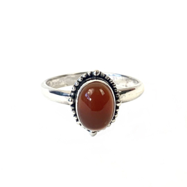 CARNEOLE OVAL RING STERLING SILVER 16.50