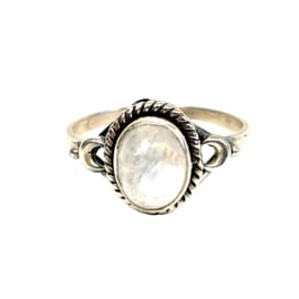 TINY OVAL MOONSTONE RING STERLING SILVER
