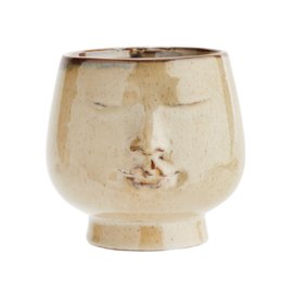 FLOWER POT W/ FACE BROWN / MADAM STOLTZ