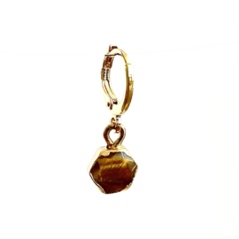 GOLD DIPPED TIGER EYE EARRING