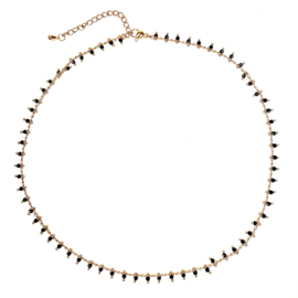 ONYX BEADS GOLD PLATED KETTING