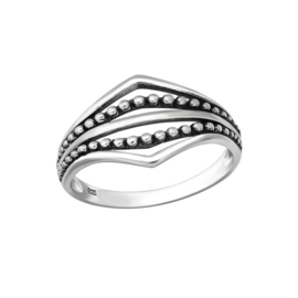 DOUBLE POINTS RING STERLING ZILVER