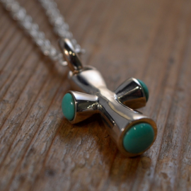 Turquoise/ 925 Sterling Silver 'Cross' Ketting