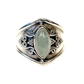 AQUAMARIJN MARQUISE BOHO RING STERLING ZILVER