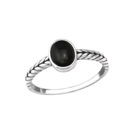 BLACK ONYX BRAIDED OVAL RING STERLING SILVER