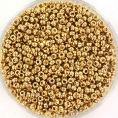 MIYUKI ROCAILLES, 2 MM KRALEN, 24K GOLD LIGHT PLATED