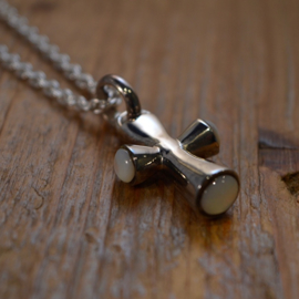 Mother Of Pearl/ 925 Sterling Silver 'Cross' Ketting