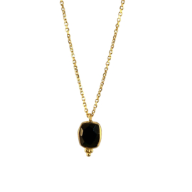 BLACK ONYX 3-DOTS GOLD VERMEIL KETTING
