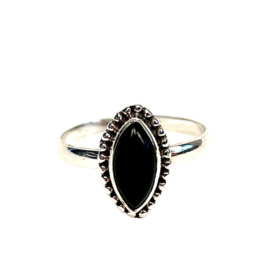 MARQUISE ONYX RING STERLING SILVER