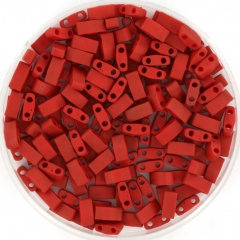 MIYUKI TILA'S, HALF 5 X 2.3  MM KRALEN, METALLIC MATT BRICK RED 2040
