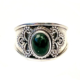 GREEN JADE OVAL BOHO RING STERLING SILVER