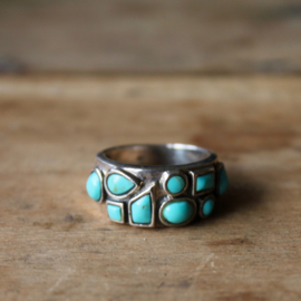 TURQUOISE 9-STONE RING STERLING ZILVER