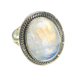LARGE OVAL MOONSTONE RING STERLING SILVER 19