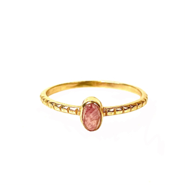 OVAL RHODONITE XS RING GOLD VERMEIL / MUJA JUMA