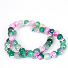 Agaat facet 8mm pink/green