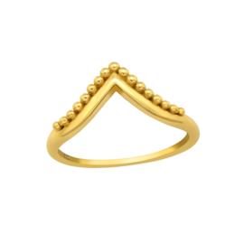 BEADED 'V' RING GOLD VERMEIL