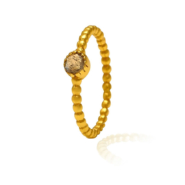 LABRADORITE BEADED RING GOLD VERMEIL