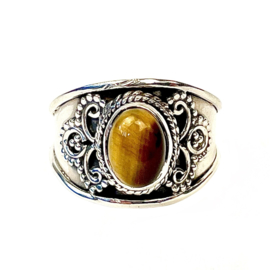 TIGER EYE OVAL BOHO RING STERLING SILVER