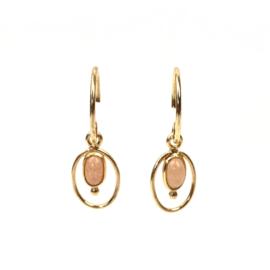 PINK MOONSTONE OVAL GOLD VERMEIL EARRINGS / MUJA JUMA