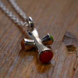 Multi Color/ 925 Sterling Silver Cross' Ketting