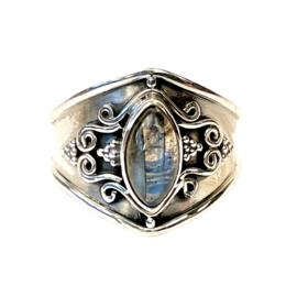 LABRADORIET MARQUISE BOHO RING STERLING ZILVER