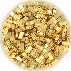 MIYUKI TILA'S, HALF 5 X 2.3  MM KRALEN, 24K PLATED GOLD 191