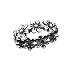 FLOWER BAND RING STERLING ZILVER