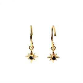 HANGING STAR BLACK AGATE GOLD VERMEIL EARRINGS / MUJA JUMA