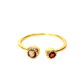 SMOKEY QUARTZ / GARNET TWO-STONE RING GOLD VERMEIL / MUJA JUMA