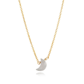 MOONSTONE GOLD VERMEIL MOON NECKLACE