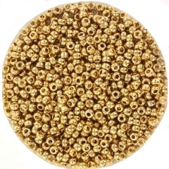 MIYUKI ROCAILLES, 2 MM KRALEN, 24K GOLD LIGHT PLATED