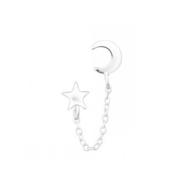 MOON & STAR CHAIN STUD STERLING SILVER