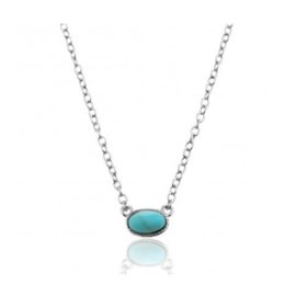 OVAL TURQUOISE NECKLACE STERLING SILVER