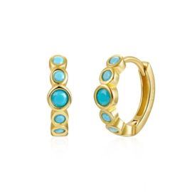 TURQUOISE GOLD VERMEIL HOOPS
