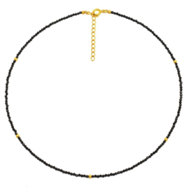 BLACK ONYX BEADED GOLD VERMEIL NECKLACE